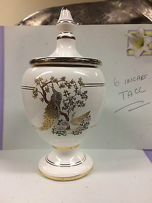 Porcelain Vase with Peacock and 24k gold lines hand made Rhodes  Made by  Kinoys