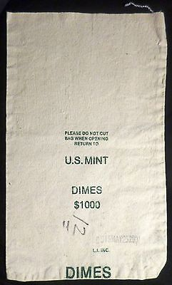 United States Mint Bag . Dimes . 10 Cents Money Bank US Coin Empty $1000 Tote