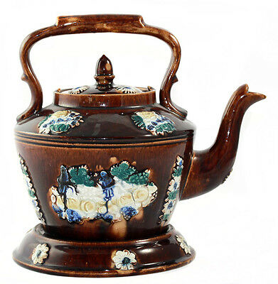1880s large Measham Bargeware teapot with motto, top handle and a stand [11075]
