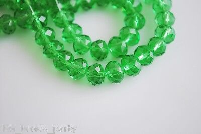 72pcs 6X4mm Faceted Rondelle Loose Spacer Crystal Glass Beads Grass Green