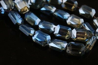 10pcs 14mm Rectangle Square Faceted  Crystal Glass Loose Beads Transparent Blue