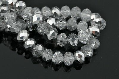 20pc 12mm Rondelle Faceted Loose Crystal Glass Beads Jewelry Finding Half Silver