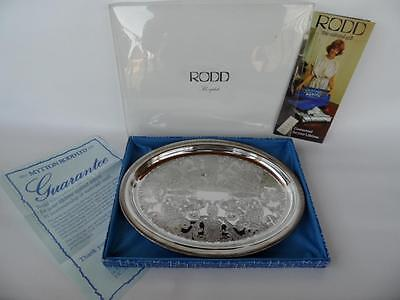 Unused In Original Box Vintage Rodd Silver Plated Oval Drinks Tray