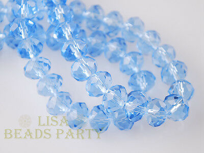 50pcs 4x6mm Faceted Rondelle Crystal Glass Loose Spacer Bead Lt Craft