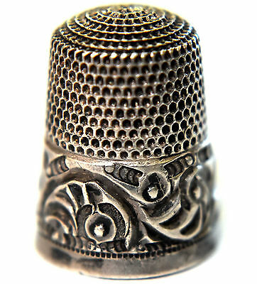 Antique Sterling Silver Thimble by Simons Brothers Size 8