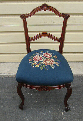 58289  Antique Victorian Chair w/ Needlepoint Seat