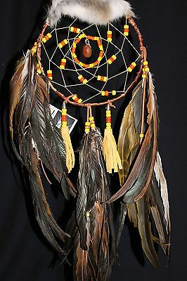 """Handcrafted and Smudged Birch Bark Dream Catcher 8"""" X"""" 25"""" with Polished Stone"""