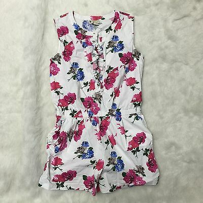 KATE SPADE ABBY Summer Girls White Floral Cotton Stretch Romper Shorts Size 14