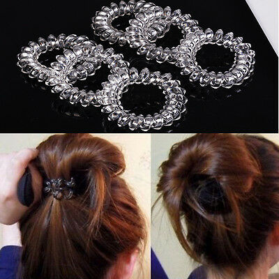 6pcs Clear Elastic Rubber Hair Ties Hairband Spiral Slinky Rubber Rope HairBand