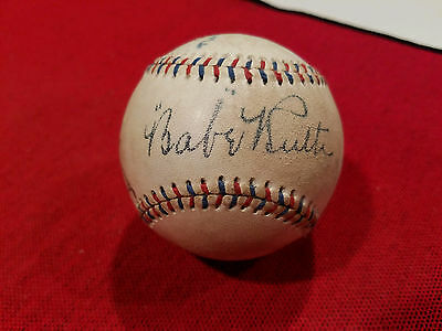 Ruth/Cobb/Gehrig Signed Autographed OAL Red & Blue Stitching Baseball 1926-27