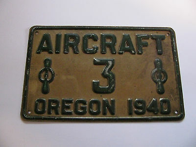 1940 Oregon Aircraft license Plate #3