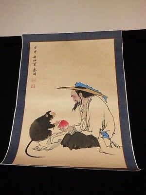 """Chinese Japanese Hand Painted Scroll Man & Monkey Sharing Fruit Signed 20"""" X 29"""""""