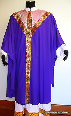 Purple Chasuble & Stole for Advent Lent. Rose Damask & Metallic Gold/Red Braid
