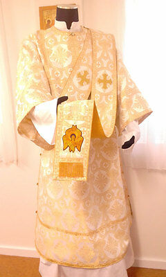 Deacons Sticharion Orarion & Cuffs in Liturgical Brocade white/gold beautiful!