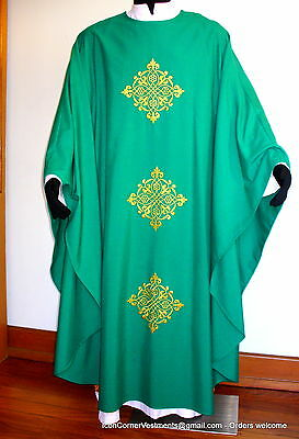 Green Chasuble Embellished Metallic Cross Embroideries x 3 front & back + stole