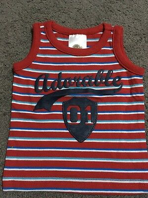 Baby Boys Short Sleeved Red Striped Top Size 0000 EUC