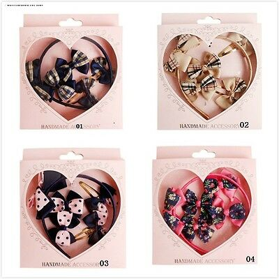 5pcs Toddler Girls Kids HAIR ACCESSORY Christmas gift set bow Band Elastic clips