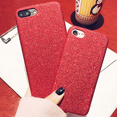Red Soft Matte TPU Leather Rubber Glitter Bling Case Cover for iPhone 6 6s Skin