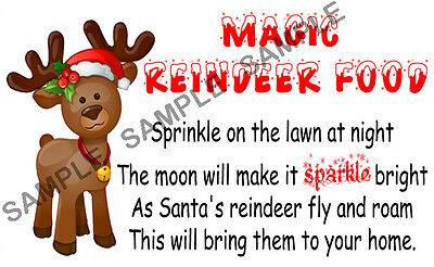 24 MAGIC REINDEER FOOD stickers For Sweet Cones etc - Ref CHS 01 - 11