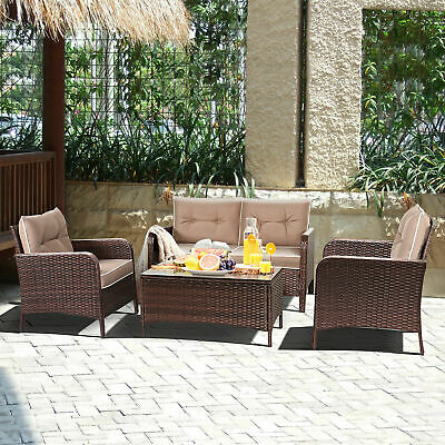 4 PCS Outdoor Patio Rattan Wicker Furniture Set Sofa Loveseat W/ Cushions NEW