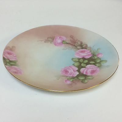 Vintage Bavarian Plate With Hand Painted Pink Roses