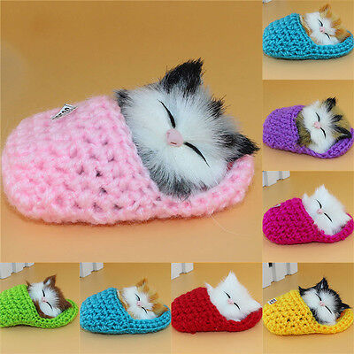Soundable Kitten Cat Sleeping In Slipper Shoes Soft Plush Toy Kids Appease Doll
