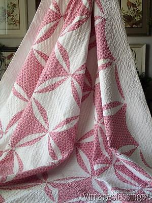 """Gorgeous! Vintage 30s Pink QUILT Robbing Peter to Pay Paul 97x70"""""""