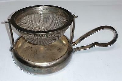 "Vintage WMF West Germany Swivel Tea Strainer & Drip Bowl 4"" Silverplate Stand"