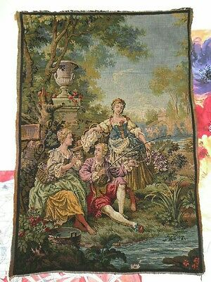 Vintage Belgium made linen & cotton wall rug hanging tapestry