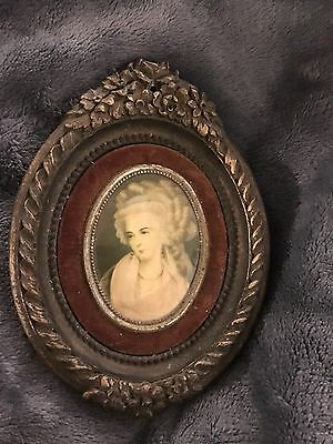 Two Vintage Oval Pictures With Victorian Lady , Wall Art Home Decorative