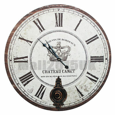New Antique Wooden Round Wall Clock Vintage Shabby Chic Pendulum 60cm Large