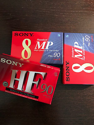 2 CASSETTES NEUF PAL 8 SONY MP 90 minutes 1 CASSETTE HF 90 VIDEO 8 LECTEUR VIDEO