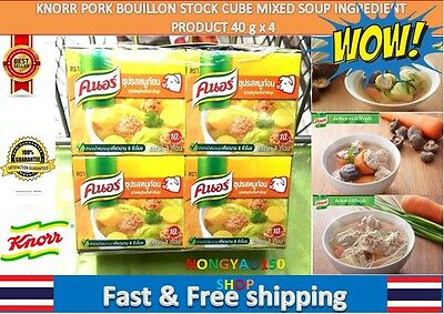 4pcs KNORR PORK BOUILLON STOCK CUBE MIXED SOUP INGREDIENT PRODUCT 40g.