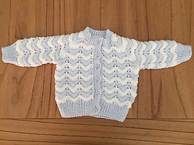 Baby Jacket: Hand Knitted - Ice Blue/white - 3 Months
