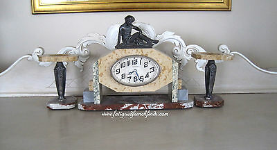 French Art Deco Marble Clock & Garnitures Jacquet Toulouse Spelter Figurine