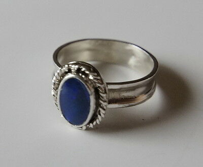 vintage black opal 925 sterling silver roustic hand made ring Sz 9
