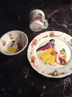 Vintage Disney Snow White And The Seven Dwarfs Plate Bowl Cup
