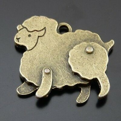 39645 Antique Bronze Alloy Lovely Sheep Pendants Charms For Necalace Making24pcs