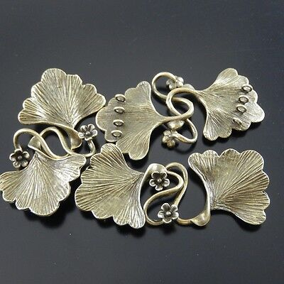 04625 Antique Style Bronze Tone Brass Fashion Leaf Charm Clasp Finding 4pcs