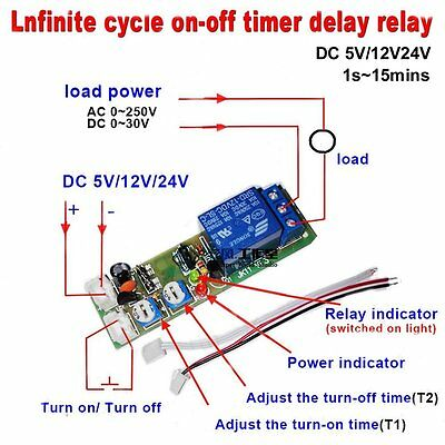 Qianson DC 5V 12V 24V Infinite Cycle Delay Timing Timer Relay ON OFF Switch Loop