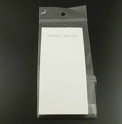 19.5*6cm Paper White Jewelry Case Display Hanging Card With Bag 120pcs 36889