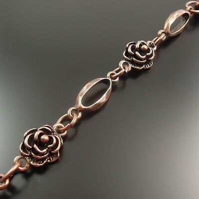 32458 Antique Style Copper Tone Alloy Flower Link Chain Jewelry Finding 90CM