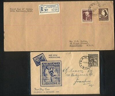 FDC 1948 1/3d Bull and 2/- Crocodile and 1949 1/6 Hermes Cover