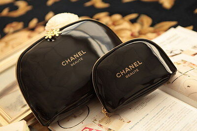 Beauty Cosmetic Makeup Bag Black snowflake travel case