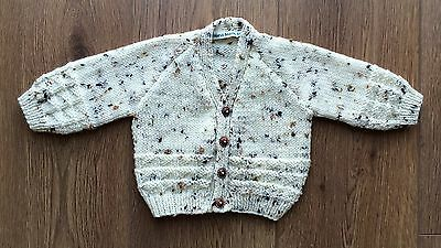 New Hand Knitted Baby Boy Cardigan In Beige Tweed Colour 0-3 Months