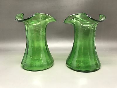 Pair Of Vintage (Antique?) Green Glass Hyacinth Vases (9 Cm)