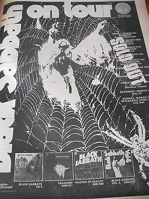 Black Sabbath-Paranoid-Master Of Reality-Vol 4 1973 Spiders Web Tour Advert