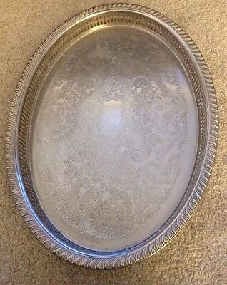 Vtg Silver Plated Large Oval Chased Gallery Drinks Serving Tray Made In Sweden