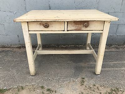 French, Antique, Table, Painted, Shabby, Vintage
