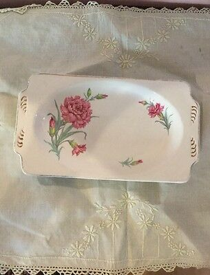 Wood Ivory Ware Vintage Cake Or Sandwich Plate With Carnation Decoration.